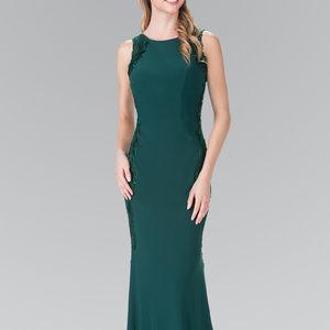 Open-Back Bateau Neck Jersey Long Dress GL2222
